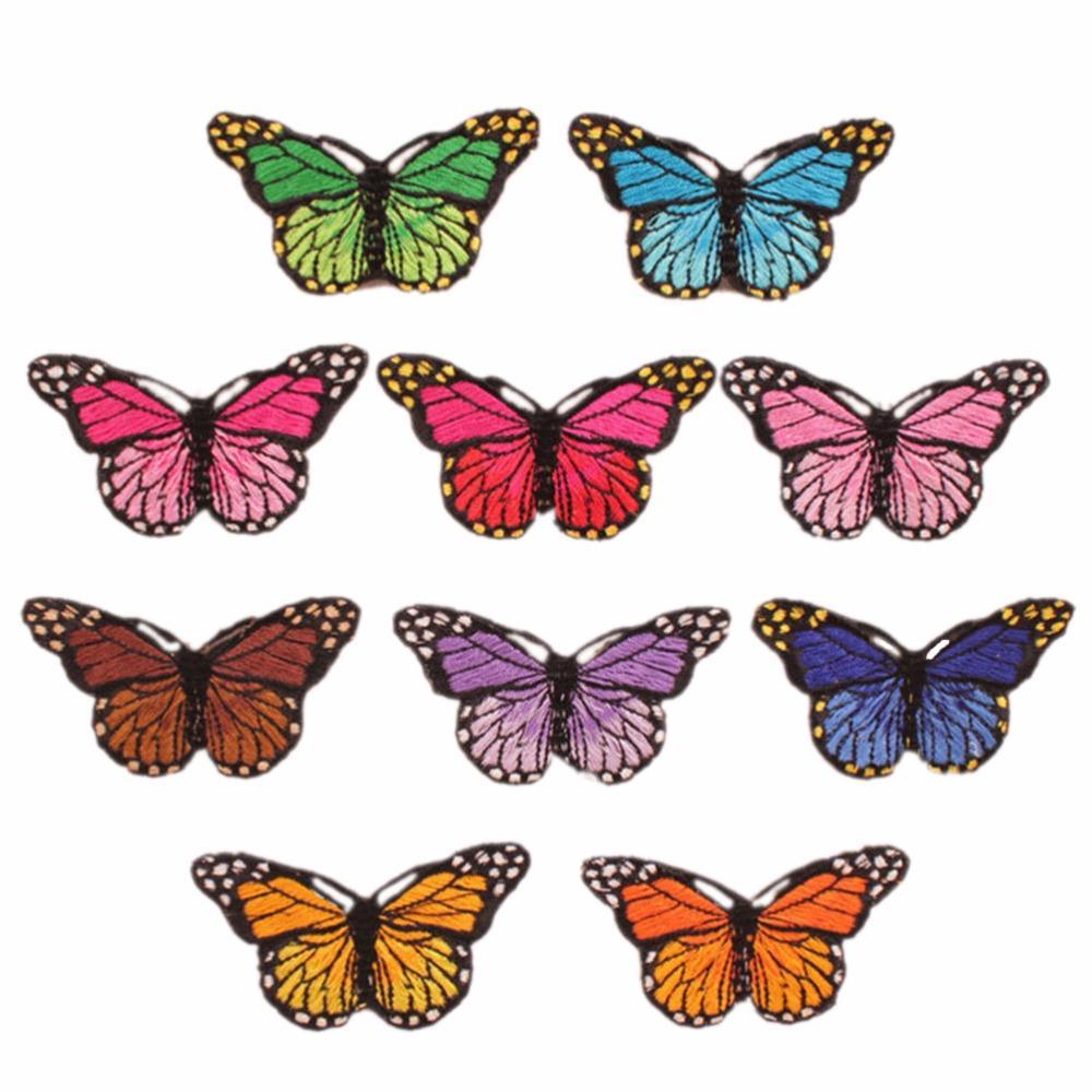10pcs Borboleta Multicolor Patches Remendos ferro em patches para apliques adesivos emblemas For Kids Clothes 7cmx5.3cm
