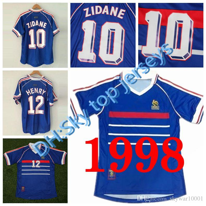 Atacado 1998 Retro Frances Futebol Jerseys Home Tailandesa 3AAA Personalizado Número Número Zidane Henry Futebol Uniformes Futebol Camisas