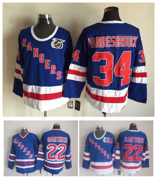 Retro New York Rangers Hockey Jersey 34 John VanBiesbrouck 22 Mike Gartner Blue Vintage CCM Autentyczne szyte koszulki