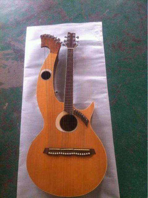 Wholesale-Harp Guitar 6 6 8 String Acoustic Electric Double Neck Guitar brand new