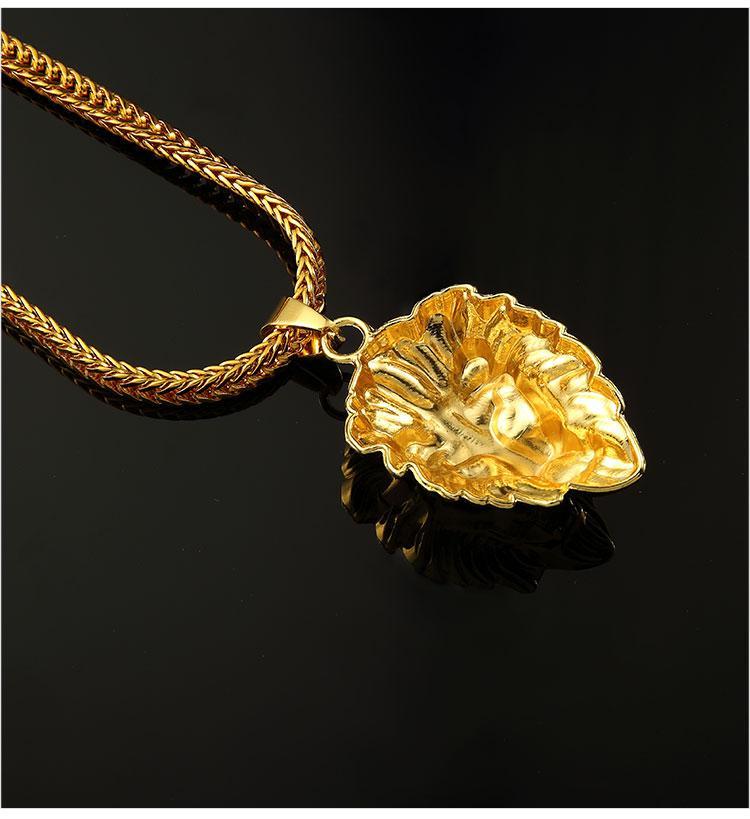 09 hip hop golden lion head pendant necklace