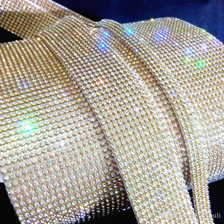 gold plating10 rows hot fix3mmrhinestone trimming,rhinestone mesh banding with glue,10rows*1.2meters/pcs,3mm rhinestones