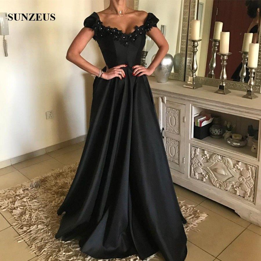 großhandel a line v ausschnitt schulterfrei schwarz abendkleider lange  satin formelle kleid mit blumen strass party kleid china online shop