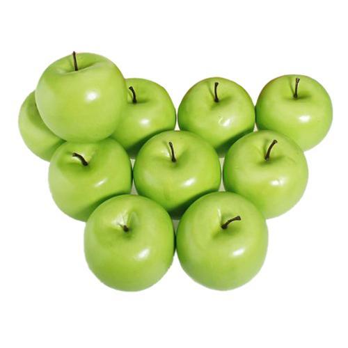 Toptan-CSS 12 adet Dekoratif Büyük Yapay Yeşil Elma Plastik Meyve Ev Partisi Dekoru