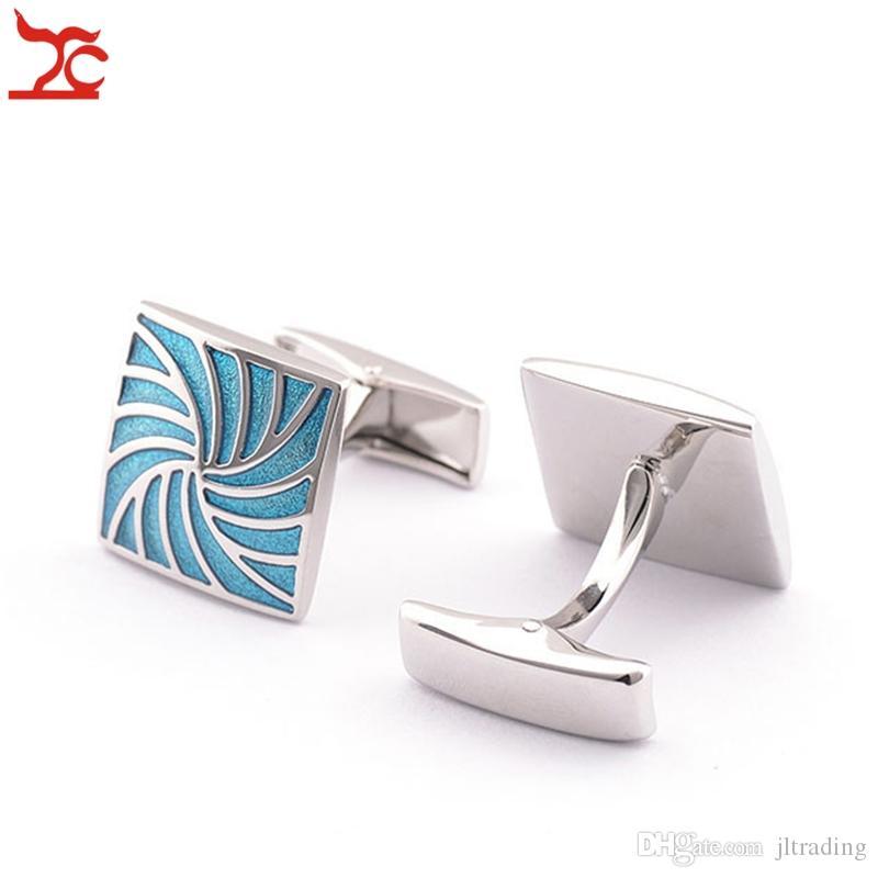 Retail MNS Cuff links High Quality Blue Silver Swirl Shape Tie Bar Cufflinks Wedding Party Father's Day Gift Shirt Cufflinks