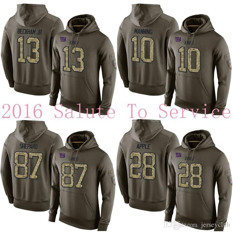 the best attitude f69dc eadd9 2019 Giants #10 Eli Manning #13 Odell Beckham Jr 87 Sterling Shepard 28  Apple Stitched Army Green Olive Salute To Service Hoodie Football Jerseys  From ...