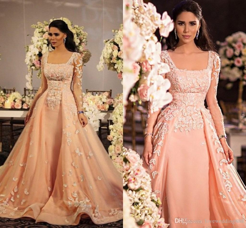Coral A Line Evening Gowns 2019 Long Sleeves Arabic Indian Applique Lace Satin Formal Pageant Dress Vestido de festa