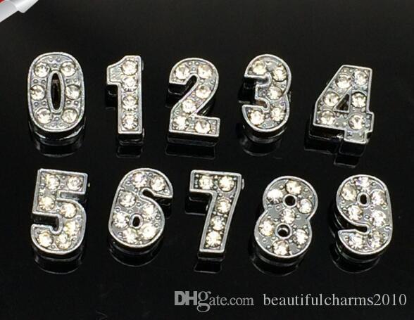 En gros 8mm 100pcs / lot 0-9 Nombre Strass Glisser Charmes Accessoires de Bricolage fit pour 8mm bracelet de cuir porte-clés