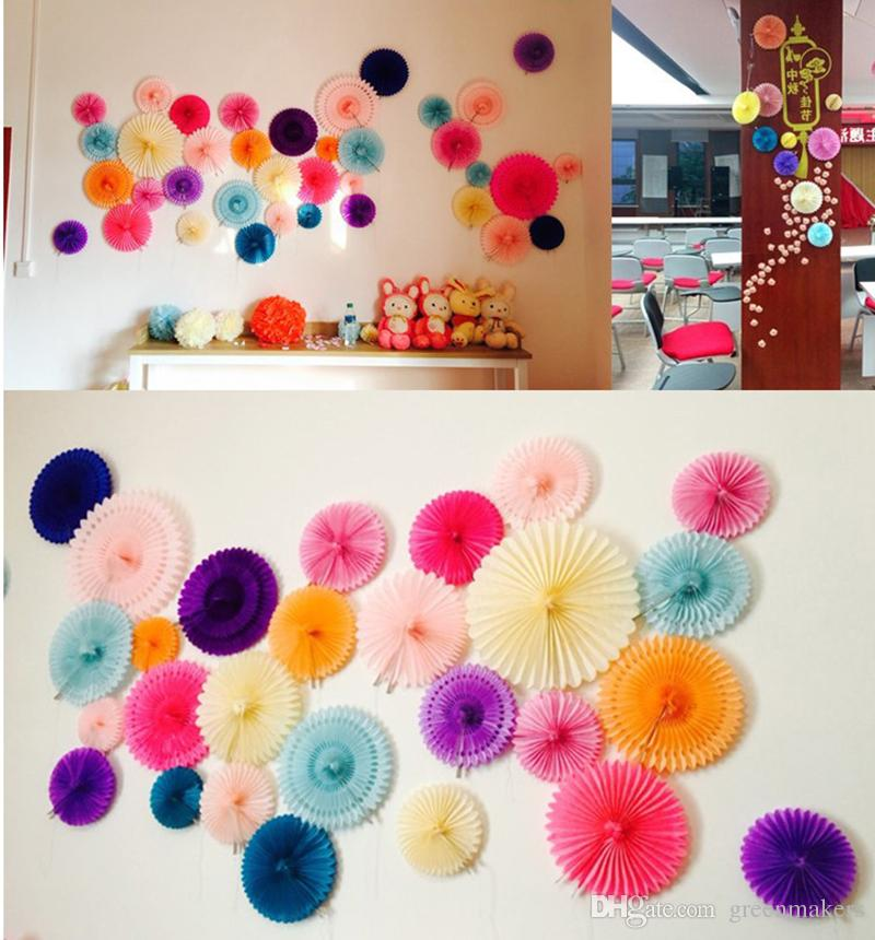 Free Shipping Decorative Wedding Paper Crafts Fan 20 30CM Flower Origami DIY Birthday Party Decorations Supplies Kids