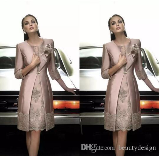 2017 Elegant Carla Ruiz Knee Length Mother off the Bride Groom Plus Size Suits Long Jacket Appliques Lace Wedding Guest Dresses