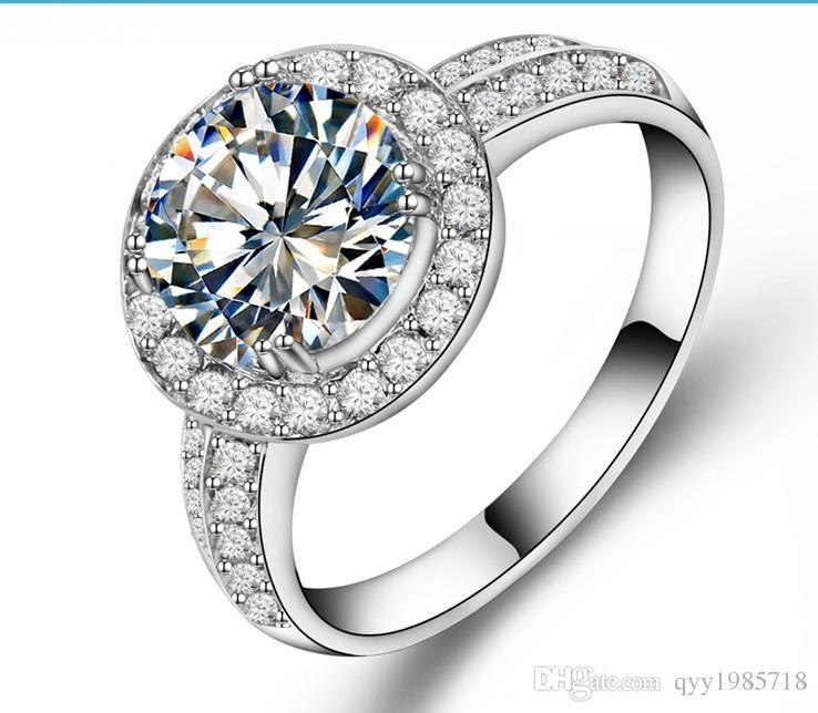 Neues Design 2CT Sterling Silber Zuverlässige Weißgold Farbe Synthetische Diamanten Ring Engagement Frauen Hochzeit Trendy Schmuck