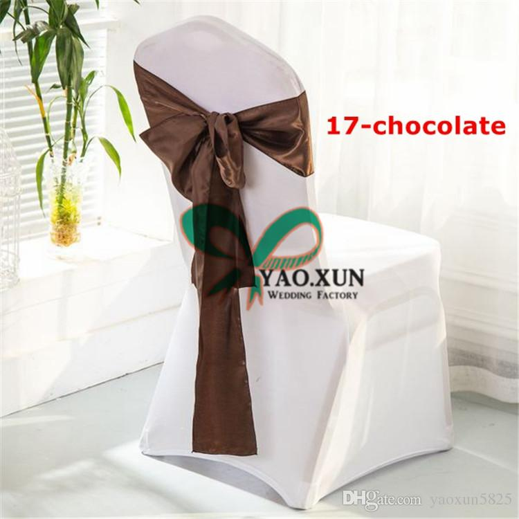 White Spandex Chair Covers + Chocolate Color Satin Chair Sash Free Shipping