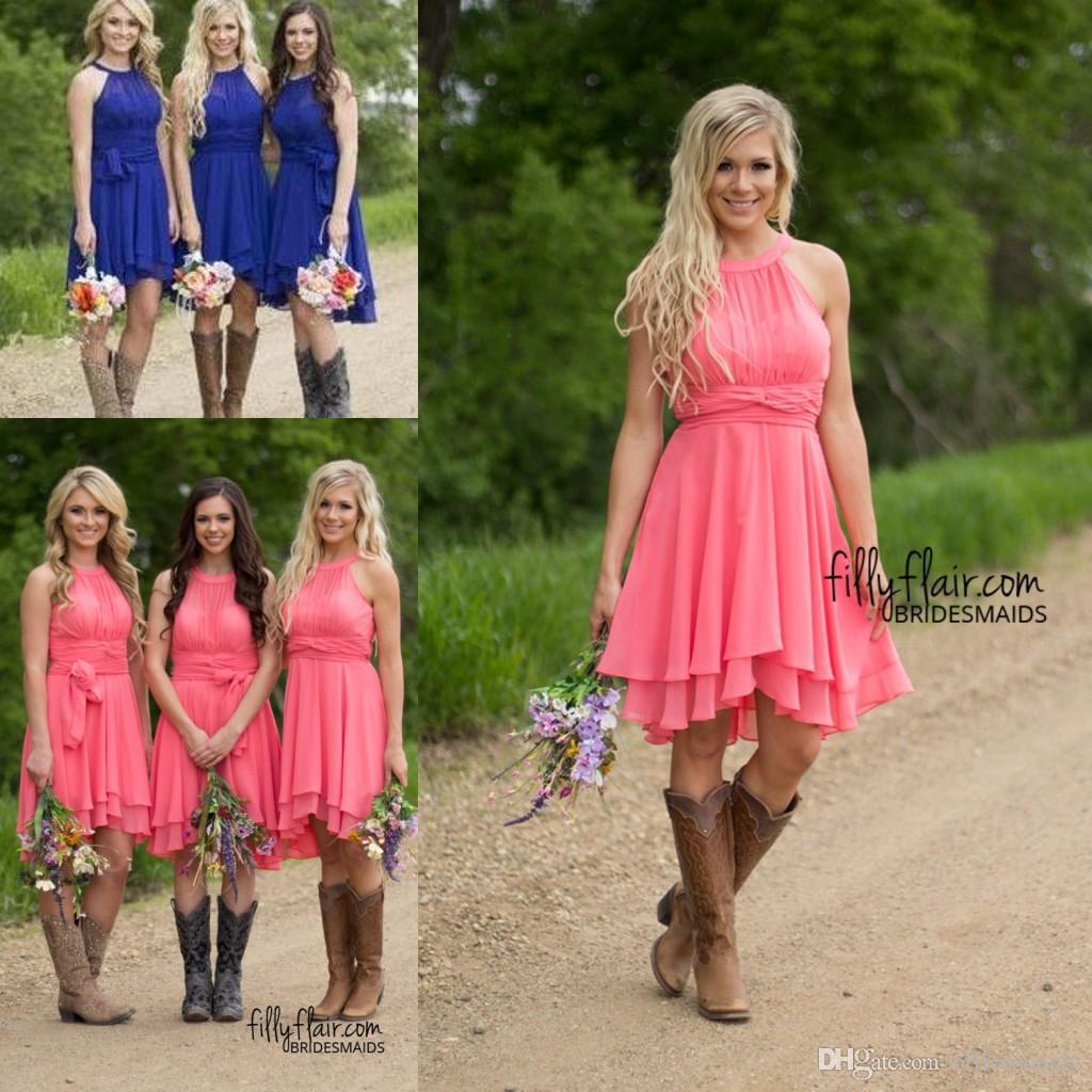 2021 짧은 국가 짧은 신부 들러리 드레스 산호 하늘 파란색 겸손한 웨딩 게스트 가운 무릎 길이 신부 들러리 드레스 하녀 60 미만