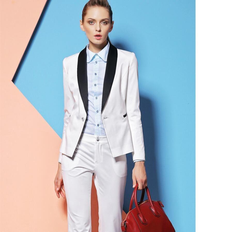 Heißer Verkauf Schalkragen One Button Weiß Custome Made Frauen Anzüge Hohe Qualität Frauen Büro Anzug Business Damen Hosenanzug