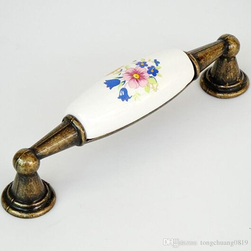 Rural Style bismarckbeer stile rurale fiore maniglia pomello in ceramica armadio cassettiera manopole maniglie Single P01 38mm