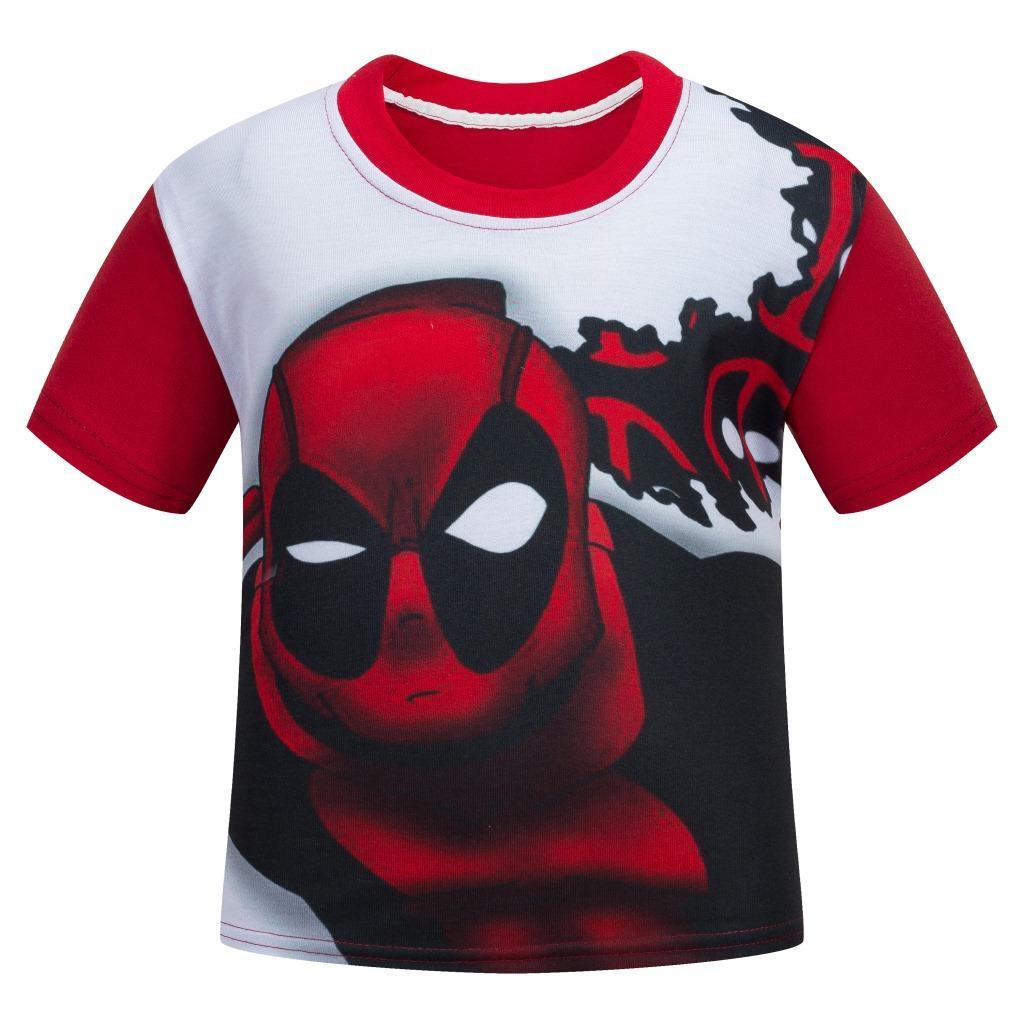 110-150 см Дэдпул умереть Ши Красный дети мультфильм футболка с коротким рукавом частные летние футболки для детей Одежда дешевые 5-8-12 лет