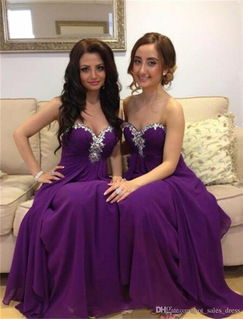 Compre Vestidos De Dama De Honor Largos Púrpuras Con El Rhinestone ...