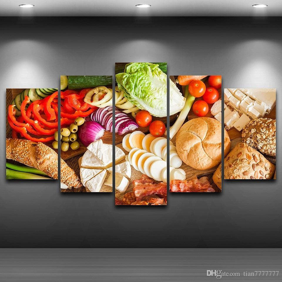 Restaurant Kitchen Wall Panels 2017 5 panel unframed vegetables food material canvas paintings