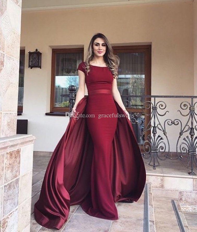 Compre Vestidos Formales árabes De Color Rojo Oscuro Elegantes Vestidos De Noche Elegantes Y Rectos Falda Extraíble Vestido De Fiesta De Dos Piezas