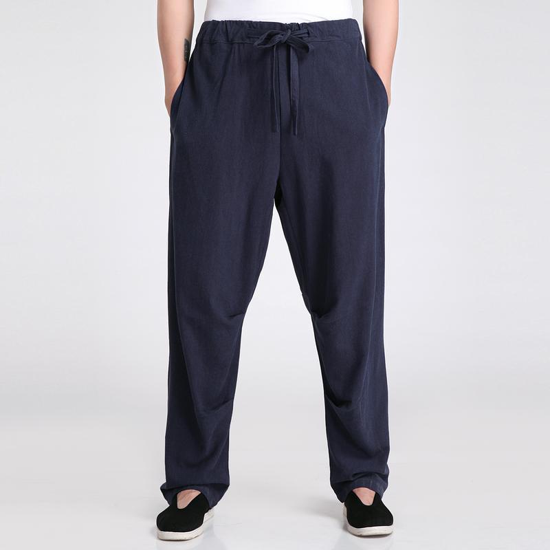 Wholesale- New Arrival Chinese Men's  Pant High Quality Cotton Linen Trousers Casual Mid Waist Pants Size M L XL XXL XXXL 2601-3