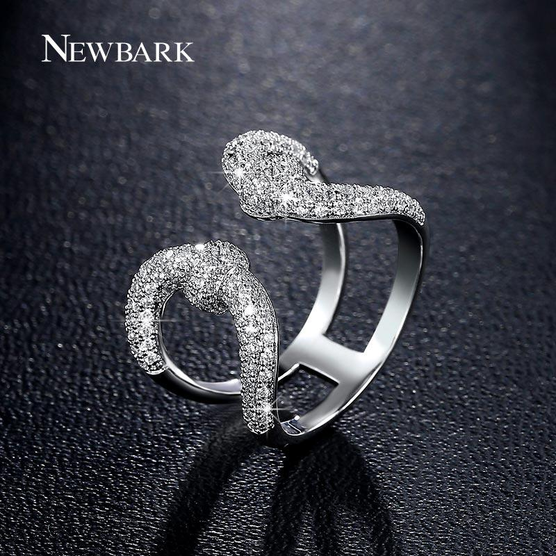 Newbark خمر تاج مفتوحة المرأة خواتم جميلة سيدة مزدوجة يو الفضة اللون عظيم جودة زركونيا حجر الملكة رمز البنصر Q170720
