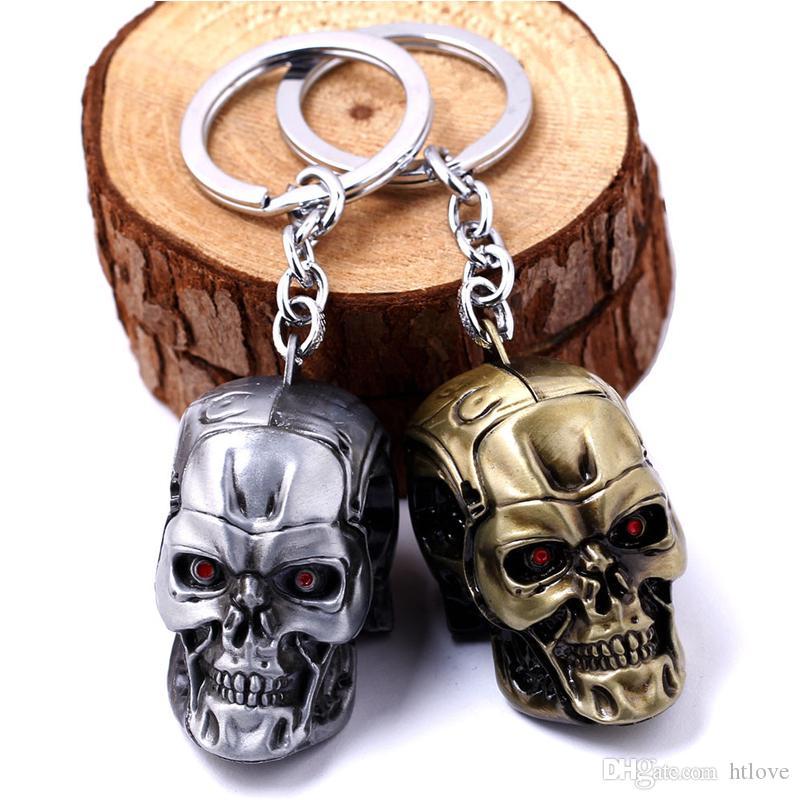 Terminator Keychain Keyring - Cool 3D Punk Skull Mask Keyring Key Chains Holder - Motorcycle Accessories Cosplay - Women Handbag Pendant