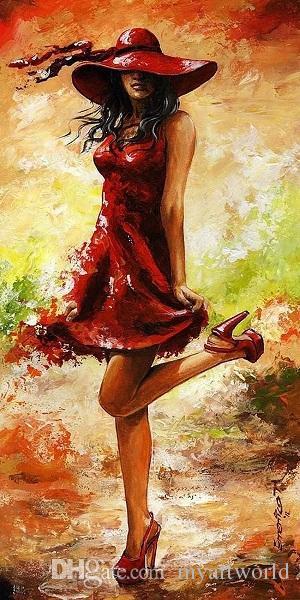 액자 LADY IN RED 가방, Pure Handpainted Impressionism Portrait Art 유화 캔버스, 무료 배송, 멀티 사이즈 있음 Ab043