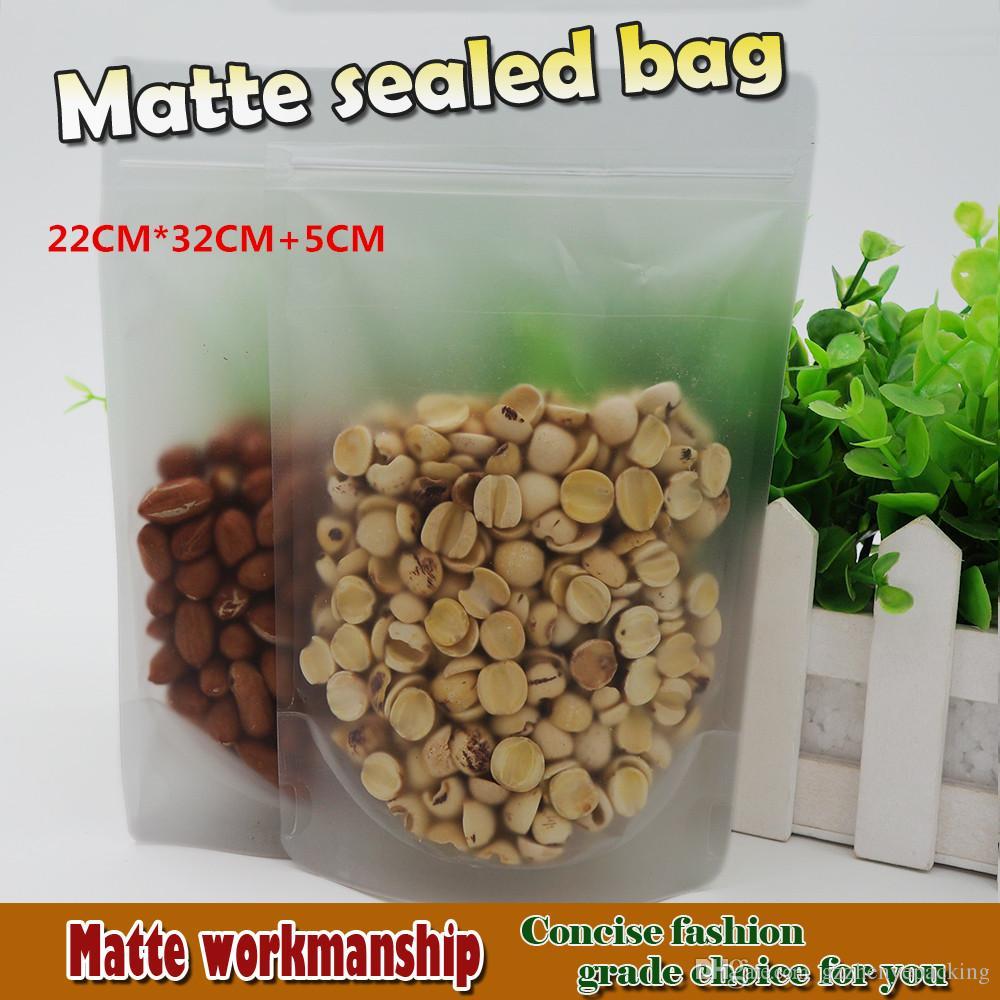 22 * 32 + 5cm 서리로 덥은 표면 명확한 플라스틱 Zip 패킹 부대는 파우치를 위로 서있다 Resealable 음식 저장 포장 반점 100 / package