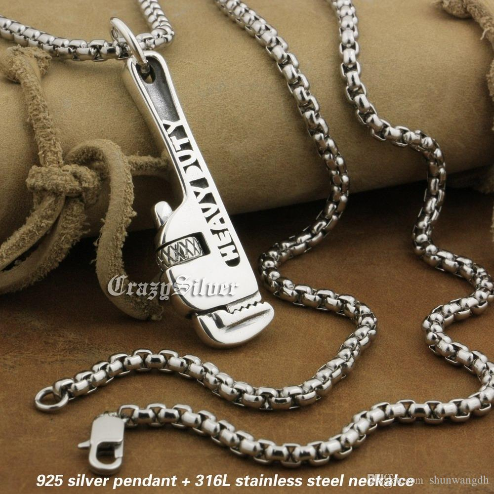 """LINSION 925 Sterling Silver Rotatable Pipe Wrench Pendant Mens Biker Rock Punk Pendant 8A031 Stainless Steel Necklace 24"""""""