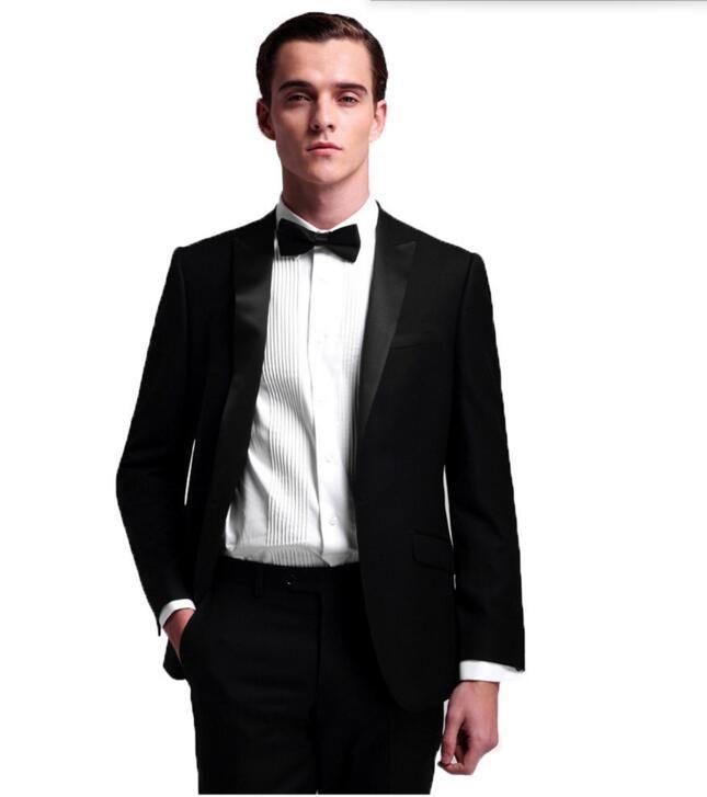 Son Tasarımlar Erkekler Suit Slim Fit yakışıklı custom made Düğün Erkekler Için Siyah Resmi takım elbise Suits (ceket + pantolon)