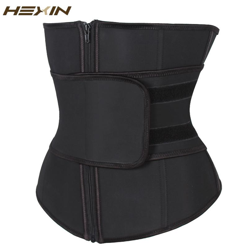 Wholesale- HEXIN Abdominal Belt High Compression Zipper Plus Size Latex Waist Cincher Corset Underbust Body Fajas Sweat Waist Trainer