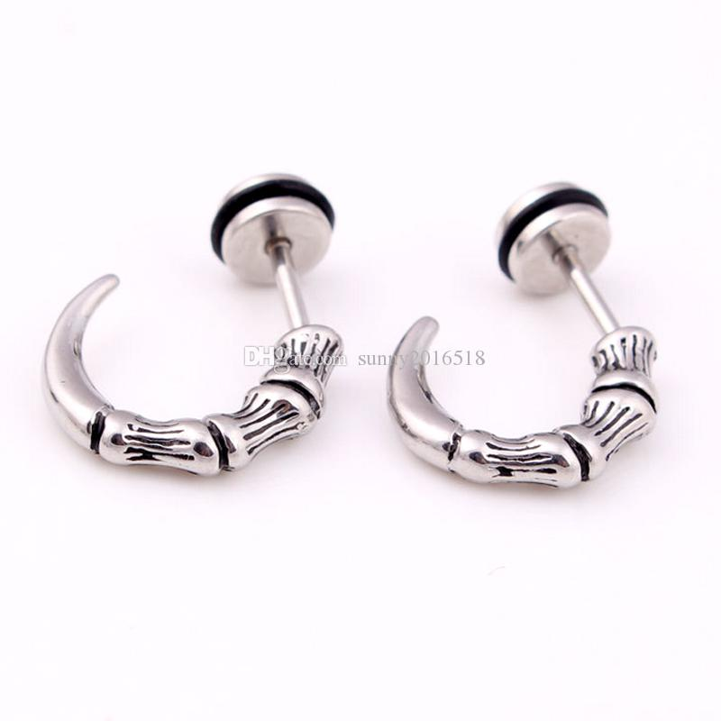 High Quality Titanium Steel Earrings Punk Gothic Eagle Claw Stud Earring Vintage Horn Cone Ear Stud Body Piercing Jewelry Wholesale