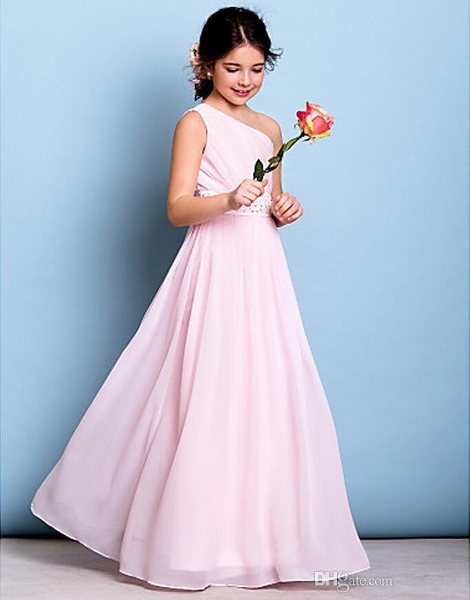 2017 New Arrival Chiffon Flower Girl Dresses Junior Bridesmaid Dress Floor-length A-line One Shoulder Dress