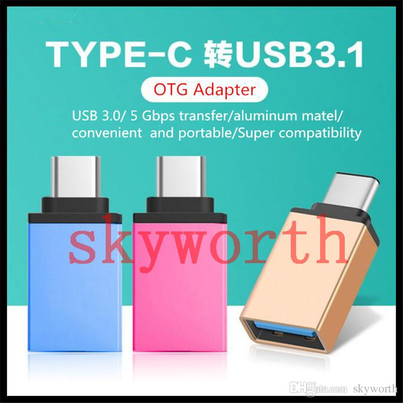 Metal USB 3.1 Typ C OTG Adapter Man till USB 3.0 En kvinnlig Converter Adapter OTG Funktion för MacBook Google Chromebook