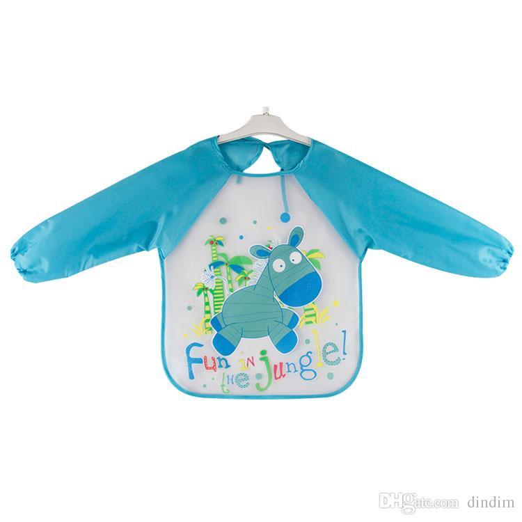 EG/_ Kids Cartoon Feeding SmockBaby Toddler Waterproof Long Sleeve Bibs Apron D