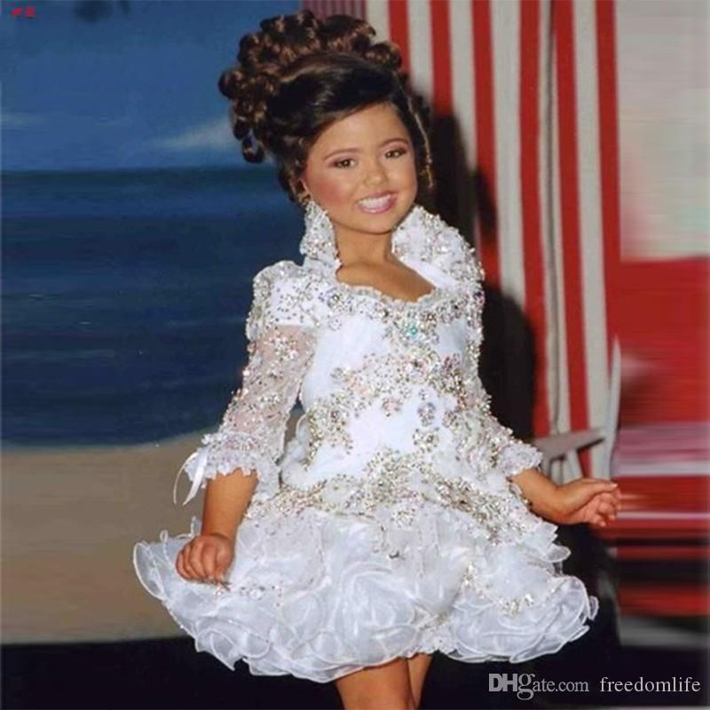 Glitz Designer Pageant Dresses For Girls 3/4 Sleeve Beads Crystal Rhinestone Ruffles Cupcake Flower Girl Dresses Kids Wedding