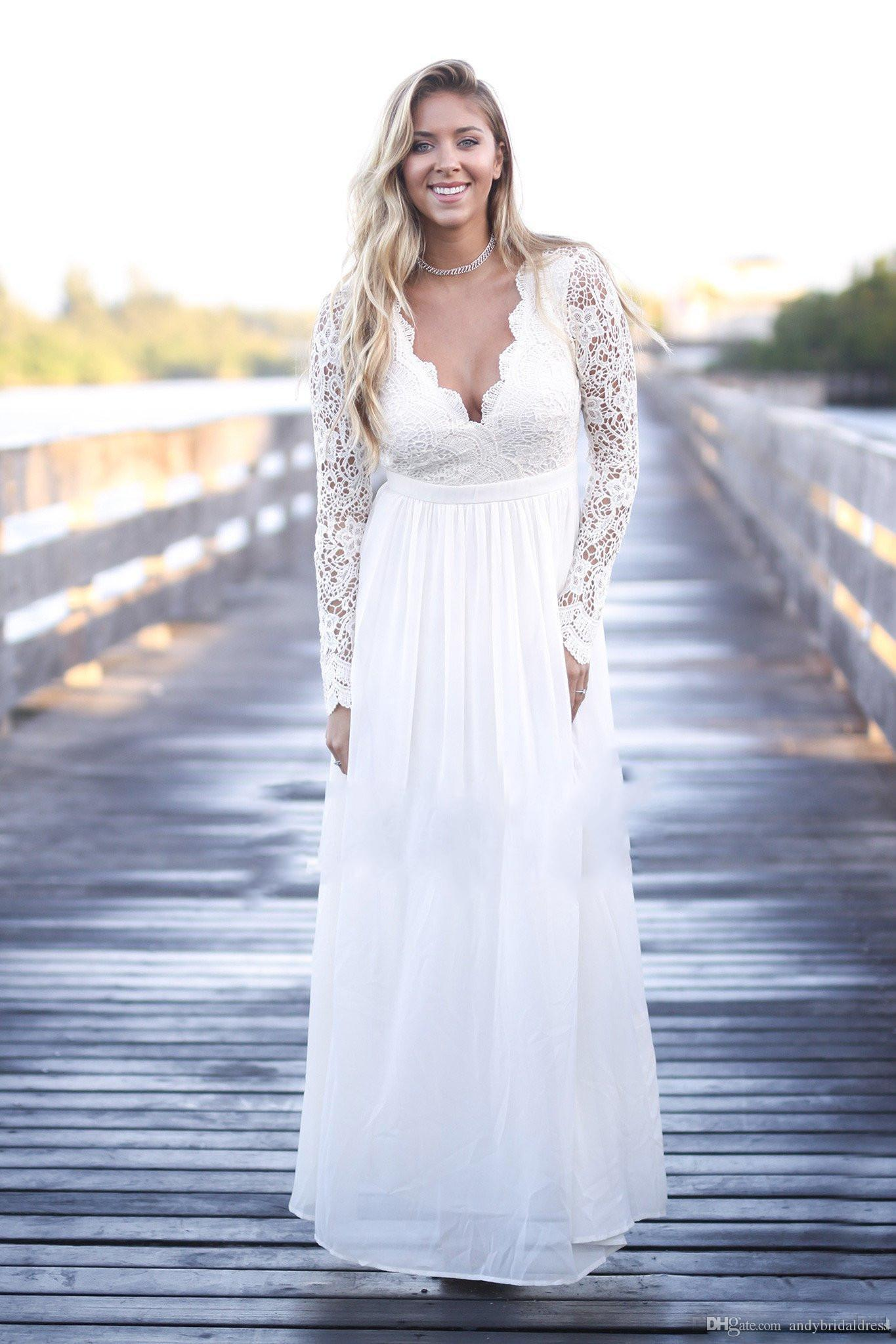 Discount Outdoor Long Sleeve Lace Plus Size Wedding Dresses Bridal