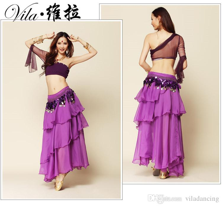 Belly dance set one shoulder transparent gauze top layered dress set bellydance costume 3pcs Top&Skirt&Belt 8 colors M/L