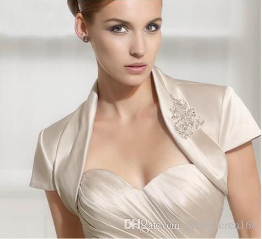 New Simple Bolero Jacket Bridal Wraps Sleeves Elegant Satin Wedding fashion White and Ivory Custom size