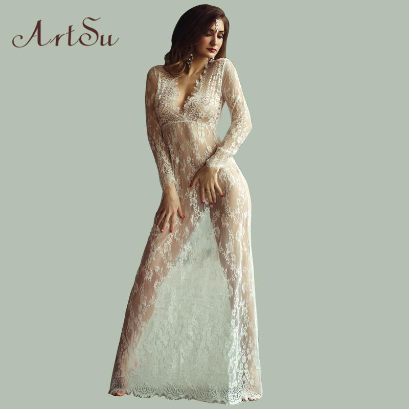 Maxi Plus Tamaño Mujeres palabra de longitud vestido de encaje blanco Otoño Negro Ajuste de la cintura atractiva de ver a través floral Vestido DR5046