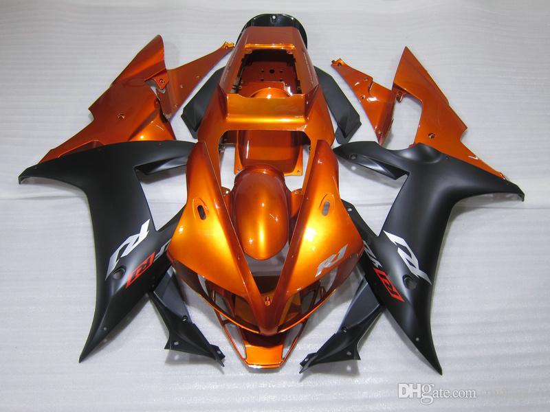 Spritzguss-Kunststoff Verkleidung Kit für Yamaha YZF R1 2002 2003 gebrannte orange schwarz fairings gesetzt YZF R1 02 03 OT35
