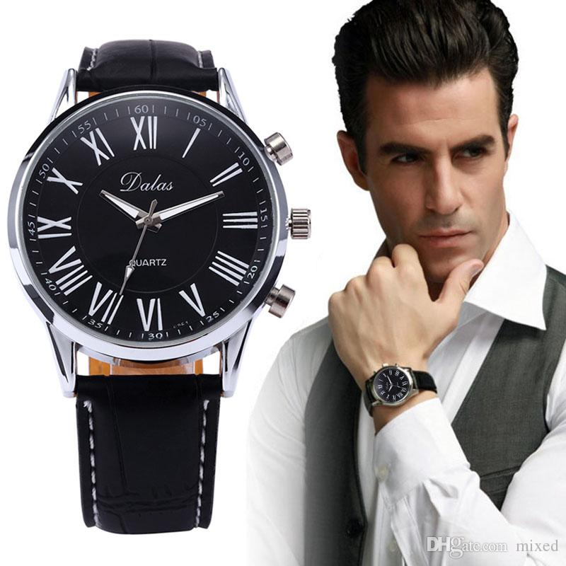 Черный Relogio Masculino военный Спорт мужские повседневные часы Наручные часы новые роскошные мужские искусственной кожи аналоговые Кварцевые наручные часы