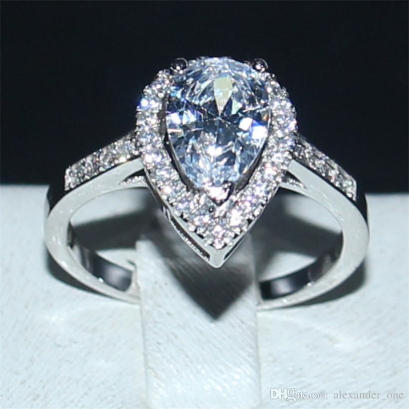 مجوهرات البوهيمي الحساسة على شكل الكمثرى الماس الأبيض البنصر الأزياء 10kt الذهب الأبيض معبأ خواتم الزفاف العروس للنساء هدية