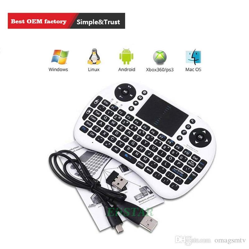 لوحة المفاتيح المصغرة المحمولة Rii i8 لوحات المفاتيح اللاسلكية Bluetooth يطير الهواء الفأر الوسائط المتعددة التحكم عن بعد لوحة اللمس لعبة يده لصندوق الروبوت