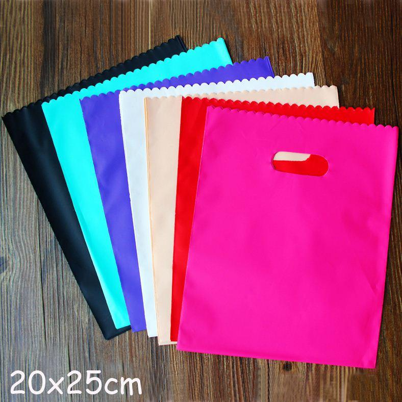 أكياس الهدايا البلاستيكية الملونة ، أكياس التسوق البلاستيكية 20x25cm