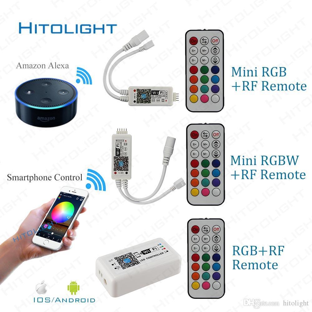 HITOLIGHT DC9-28V Wifi RGB/RGBW LED Controller+21key RF Remote Smartphone Control Music and Timer Mode Alexa Google Home Voice Control