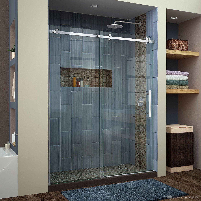 (США Горячие Продажи) 6.6FT Матовый Обводной плоский бар из нержавеющей стали декор раздвижной душ сарай дверная фурнитура душевая комната комплект