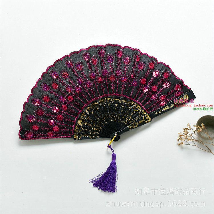 바람과 바람 팬 여성 중국 접는 팬 천 팬 댄스 장식 공작 도매
