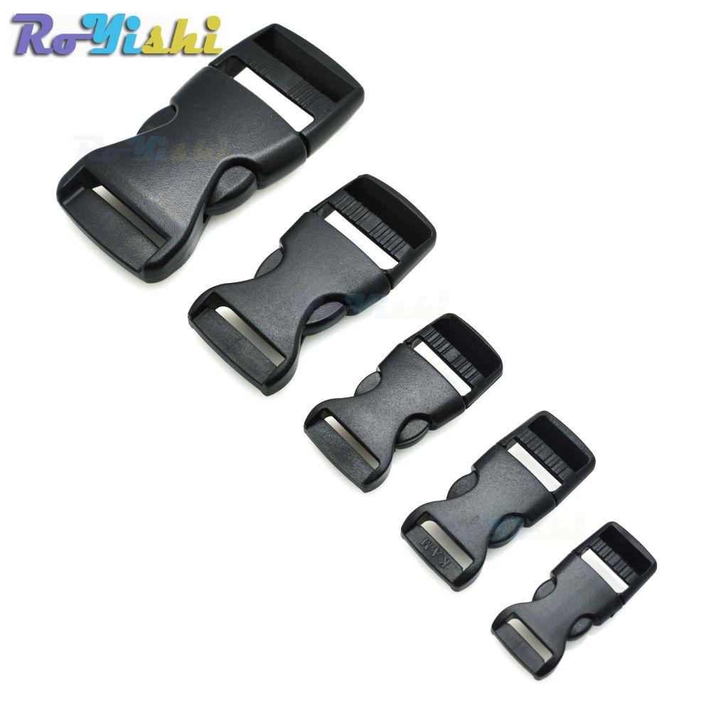 Fibbie a sgancio laterale in plastica 100 pz / lotto per bracciale / zaino Paracord nero