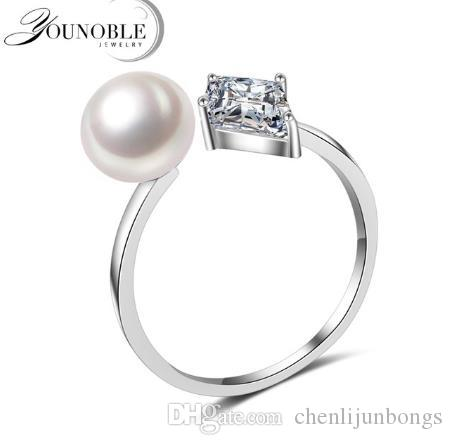 YouNoble Fashion Real 8-9mm Natural Freshwater Pearl Rings CZ Stone Rings for Women Rings,925 silver Pearl Ring Jewelry Bijoux Adjust